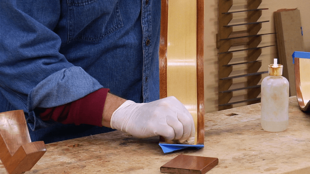 French polishing inside of guitar sides